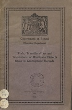 Texts, Transliterations and Translations of Himalayan Dialects taken in Gramophone Records