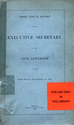Annual report of the Executive Secretary to the Civil Governor [for