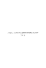 Journal of the Palestine Oriental Society