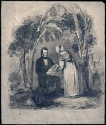 Watercolour painting of Robert Moffat rescuing an abandoned child