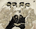 Actor Ichikawa Monnosuke as Sukeroku receiving pipes from courtesans