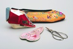 Chinese red and yellow slippers, with scissors, from the Gladys Aylward collection