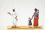 Male and female servants with western children : from an album of Company paintings of occupations and festivals