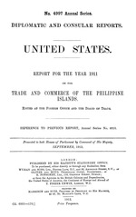 United States : Report for the year 1911 on  the trade and commerce of the Philippine Islands