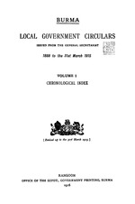 Local Government Circulars issued from the General Secretariat, 1888 to the 31st March 1915