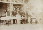 Photograph captioned 'Tennis Party at Commissioner's House, Hoihow, 11 October 1898'